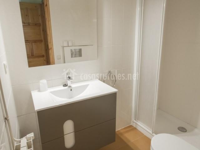 Baños Con Duchas Dobles:sillon y television dormitorio doble con balcón baño con ducha