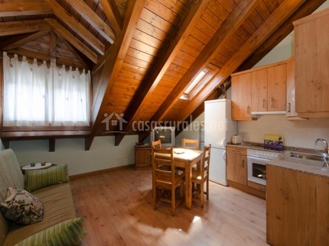 Apartamento verde casa aneta en sarvise huesca for Sala de estar y cocina